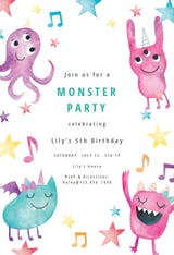 Whimsical monsters - Birthday Invitation