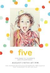 Whimsical polka dots - Birthday Invitation