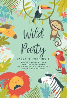 Birthday invitation templates free greetings island wild animals birthday invitation stopboris Choice Image