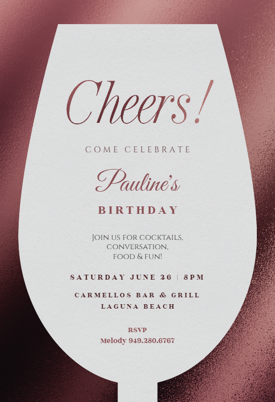 Wine Glass Birthday Invitation Template free
