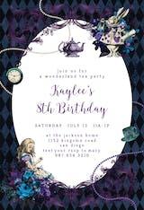 Wonderland Tea Party - Birthday Invitation
