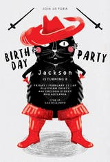 Zorro cat - Birthday Invitation