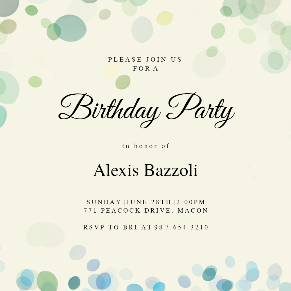 Filtered Bubbles - Free Birthday Invitation Template | Greetings Island