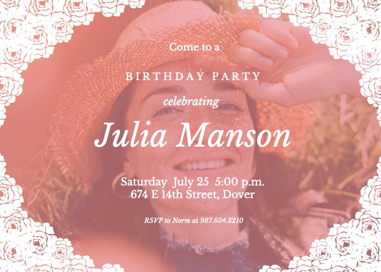 Lacy Corners   Birthday Invitation