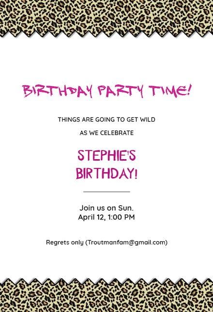 Leopard Birthday Party Birthday Invitation Template Free Greetings Island