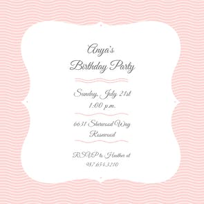 Pink Waves Pinstripe - Birthday Invitation