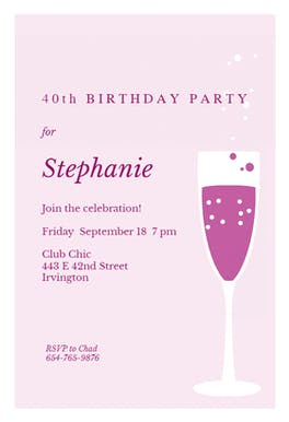 Purple Panache - Birthday Invitation