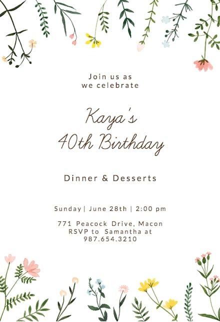 Wildflower Watercolor Border Birthday Invitation