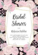 Black Pink Flowers  Frame - Bridal Shower Invitation
