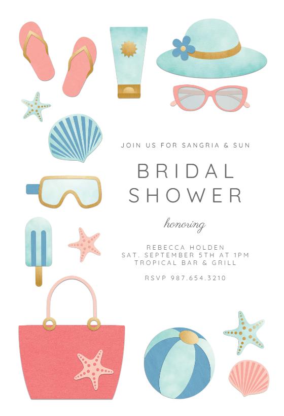 Cute Beach Bridal Shower Invitation