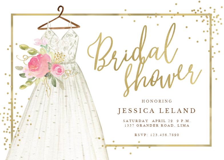 flowers dress bridal shower invitation template free. Black Bedroom Furniture Sets. Home Design Ideas