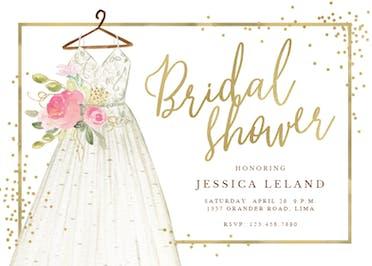 Flowers & dress - Bridal Shower Invitation