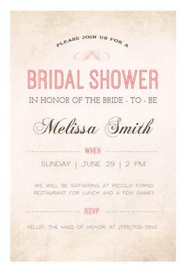 Classic paper - Bridal Shower Invitation