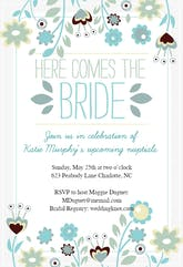 Here Comes The Bride wreath - Bridal Shower Invitation Template