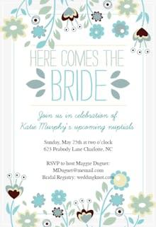 Here Comes The Bride wreath - Bridal Shower Invitation Template