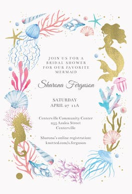 marry mermaid bridal shower invitation