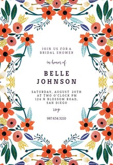 Orange Floral - Bridal Shower Invitation