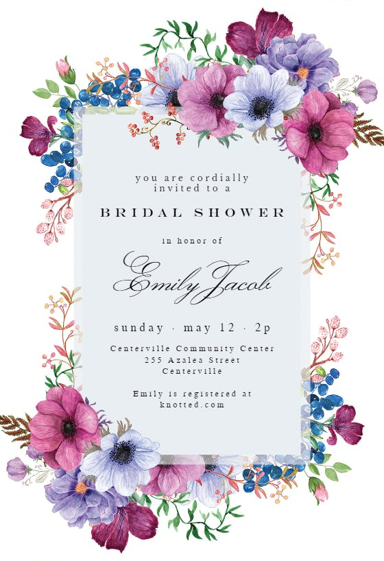 Navy Wedding Shower Invitation Printable Boho Bridal Shower Invitation Template Blush Floral Bridal Shower Invite INSTANT DOWNLOAD NBPG38