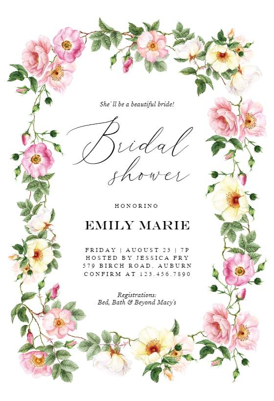 Printable Petal Ink Design Watercolour Bridal Shower Invitation