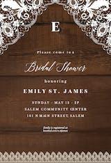 Rustic Lace - Bridal Shower Invitation