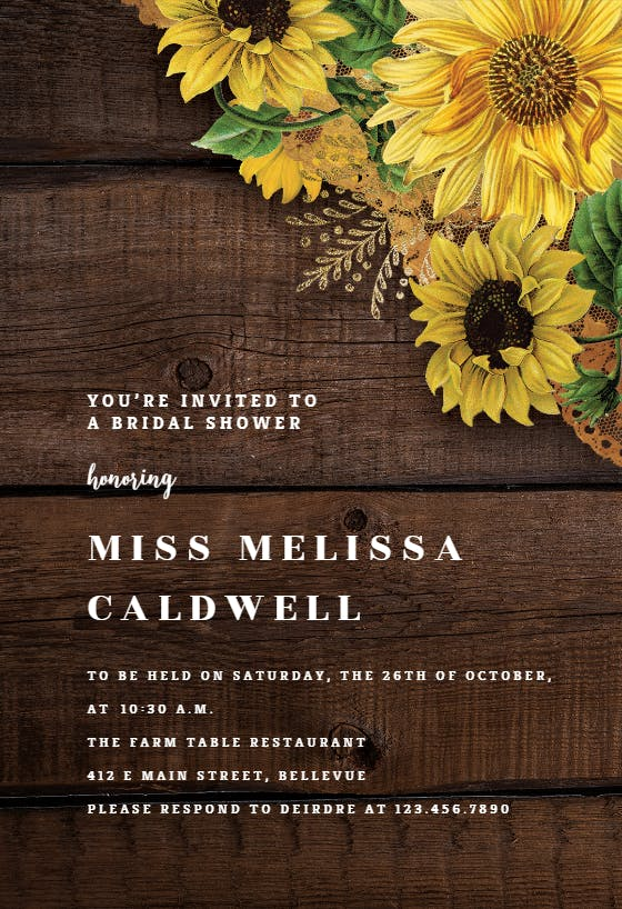 Rustic Boho Sunflowers Fill In The Blanks Invites 4.25 x 5.5 Sunflowers Invitations With Envelopes Sunflowers Bridal Shower Invitations Flat Cards Set Of 20