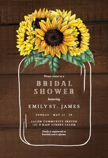 Sunflowers filled jar - Bridal Shower Invitation