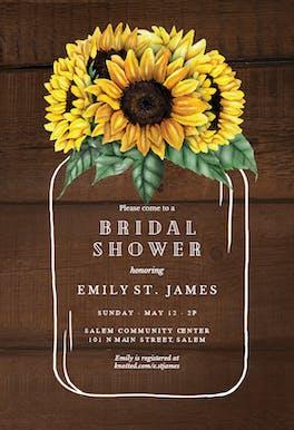 Sunflowers filled jar - Bridal Shower Invitation