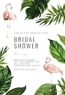 Flamingo & palm leaves - Bridal Shower Invitation