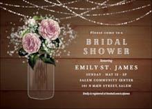 Whimsical rustic flowers - Bridal Shower Invitation