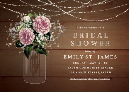 Whimsical Rustic Flowers Bridal Shower Invitation Template Free