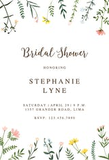 Wildflower Watercolor Border - Bridal Shower Invitation