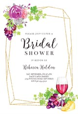 Wine and Flower Wreath - Bridal Shower Invitation