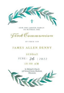 Bay Laurel - First Communion Invitation