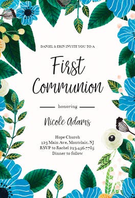Blue & Orange - First Communion Invitation