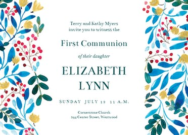Blue & Red - First Holy Communion Invitation