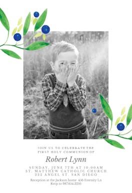 Blueberry fields - First Communion Invitation
