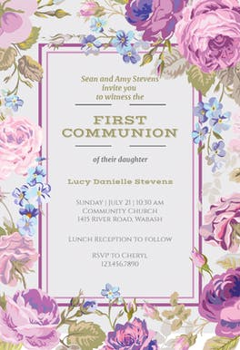 Cabbage Roses - First Communion Invitation