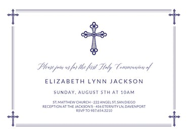 Criss Cross - First Holy Communion Invitation