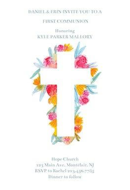 Cross Flowers Free First Holy Communion Invitation