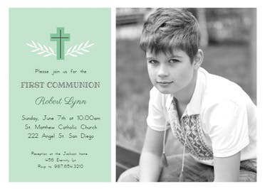 Cross - First Holy Communion Invitation