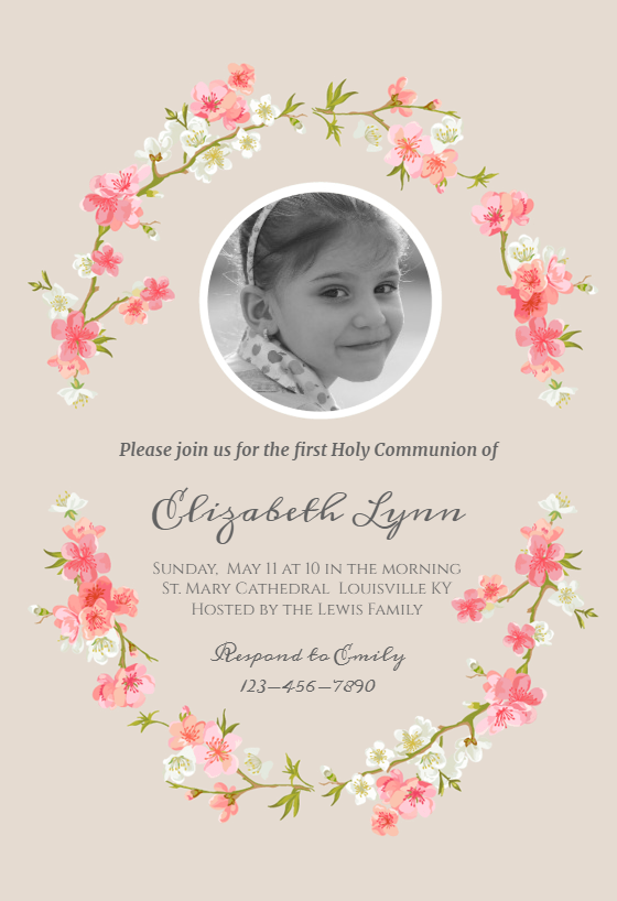 graphic about Printable First Communion Invitation called Initial Holy Communion Invitation Templates (No cost) Greetings