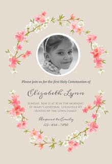 Floral Communion - First Holy Communion Invitation