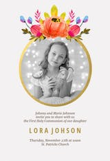 Floral - First Holy Communion Invitation