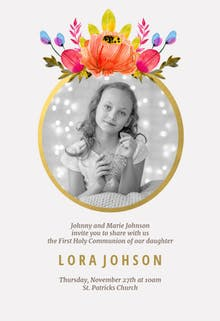 Floral - First Communion Invitation