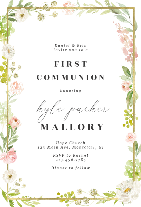 This is a picture of First Communion Invitations Free Printable inside vintage