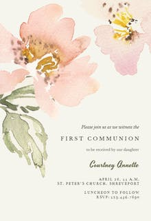 Garden roses - First Holy Communion Invitation
