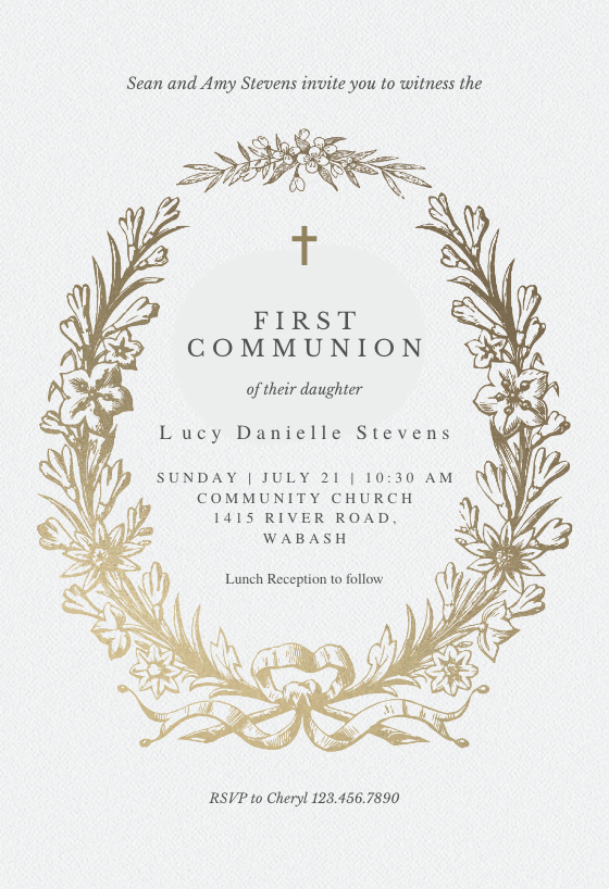 graphic relating to First Holy Communion Cards Printable Free known as To start with Holy Communion Invitation Templates (Totally free) Greetings