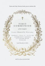 Golden Wreath - First Holy Communion Invitation
