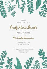 Graceful Greenery - First Holy Communion Invitation