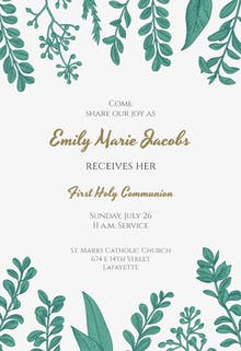Graceful Greenery - First Communion Invitation